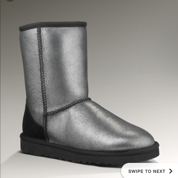 79a9164d04a Black Silver Shiny Uggs Short size 5
